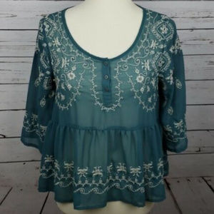 BOHO Free People Size Sm Embroidery Flowing Teal